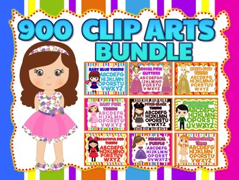CLIP ARTS MEGA BUNDLE: 900 images of the Alphabet, Numbers and Symbols