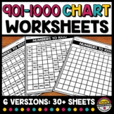 901 TO 1000 CHART WORKSHEETS BLANK & FILL IN THE MISSING N