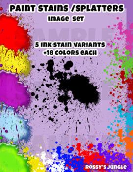 90s files- Detailed Paint Ink or Splatters Clip Art set