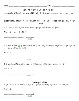 90th Day of School -worksheet