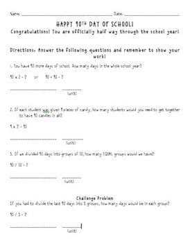90th Day of School -worksheet