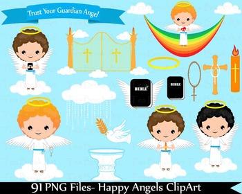 91 PNG Files- Happy Angels Boys ClipArt- Digital Clip Art  133