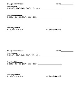 9.1 and 9.2 Exit Ticket