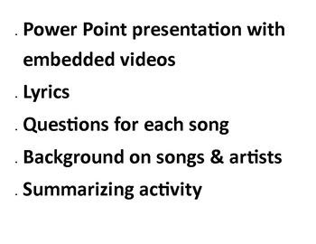 9/11 Music Activity:  Nine songs, lyrics, worksheet & answer key