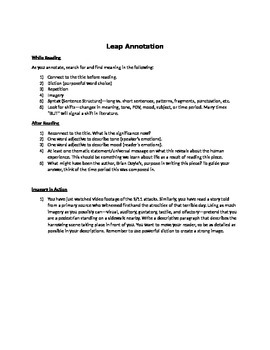 9/11 Reading Assignment & Imagery Creative Writing-Leap by