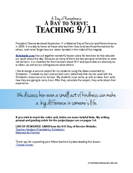 9/11 Service Project & Writing Prompt Free