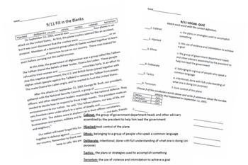 September 11 Vocabulary Work
