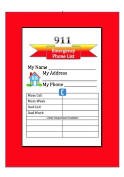 911: Writing + Technology: Emergency Phone List: Grades 3-6