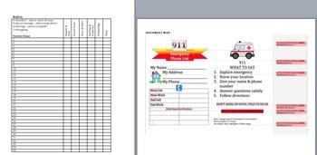 911: Writing + Technology: Emergency Phone List: Grades 3-6