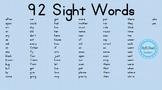 92 Kindergarten 1st Grade Sight High Frequency Popcorn Words