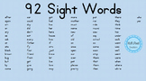 92 Kindergarten 1st Grade Sight High Frequency Popcorn Words