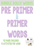 92 PAGES Primer & Pre Primer Kindergarten Sight Words work
