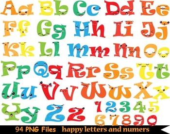 92 PNG Files- Kawaii Alphabet & Numbers + Symbols -Clip Art - 300 dpi 081