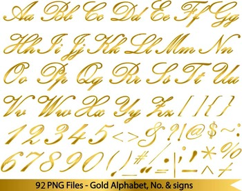 92 PNG files- Gold Elegant ALphabet, numers & symbols FULL SET - 300 dpi 074