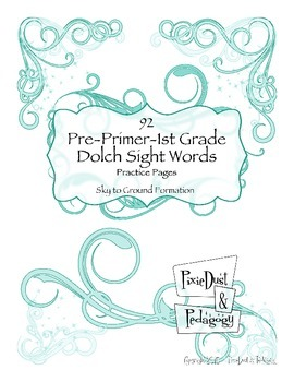 92 Pre-Primer-First Grade Dolch Sight Words: Sky to Ground Letter Formation