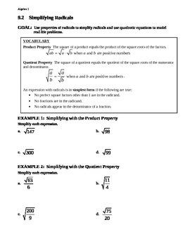 9.2 Simplifying Radicals