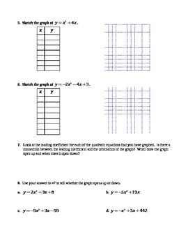 9.3 Graphing Quadratic Functions (Day 1)