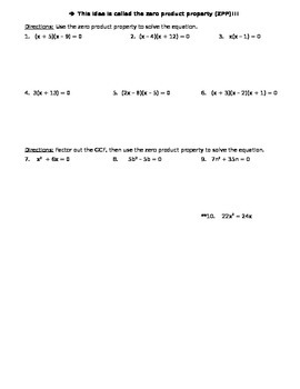 9.4 GCF and ZPP (Teacher's Notes)