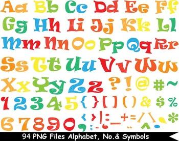 94 PNG Files Colorful Alphabet, Numbers & Symbols - Clip Art- 300 dpi 080