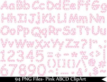 94 PNG Files- Pink Alphabet PolkaDots Clipart Set  068