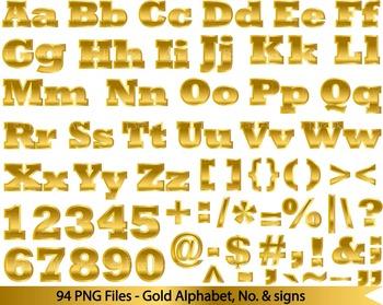 94 PNG files- Gold ALphabet, numers & symbols FULL SET - 300 dpi 073