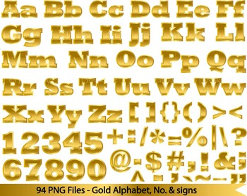 94 PNG files- Gold ALphabet, numers & symbols FULL SET - 3