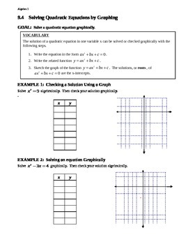 9.4 Solving Quadratic Equations by Graphing