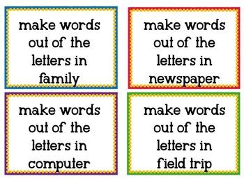 94 Word Work Task Cards