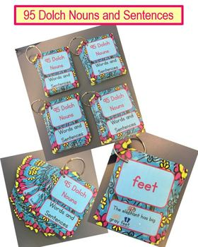 95 Dolch Noun Word Cards With Sentences and Pictures