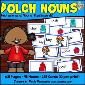 Dolch Nouns Picture and Word Flashcards