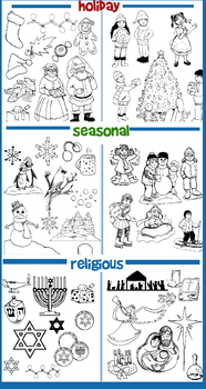 95 Holiday & Seasonal Picture Pages for References, Cut-Outs, Cards,Coloring!