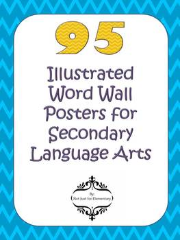 95 Illustrated Word Wall Vocabulary Posters for Secondary Language Arts