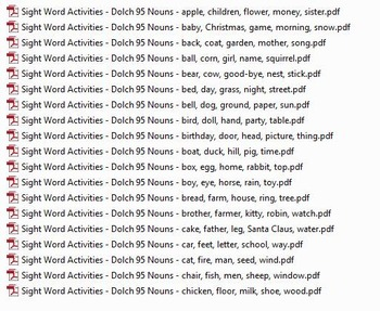 95 Noun Dolch Word Activities