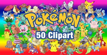 50 Pokemon ClipArt-Printable Pokemon Heroes PNG Images-Digital Clip Art