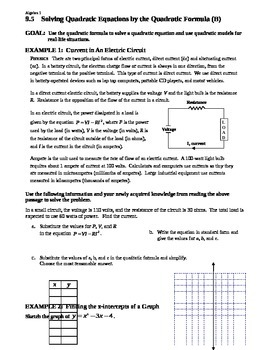 9.5 Solving Quadratic Equations by the Quadratic Formula (Day 2)