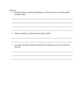 95 Theses Primary Source Worksheet