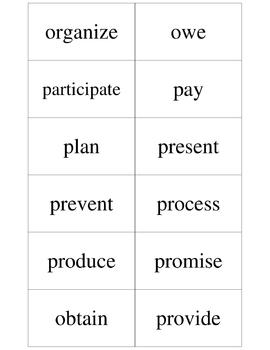 ESL - 96 Business Verbs (supplement to Verb Tense Practice Card Game)