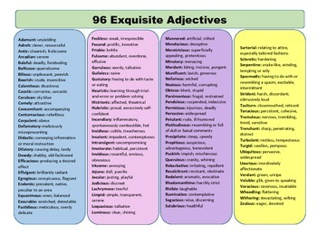 96 Exquisite Adjectives