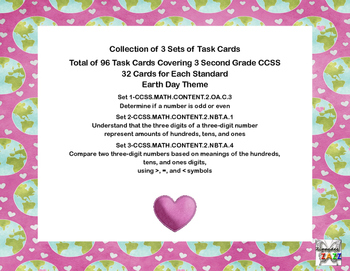 96 Math Task Cards Covering 3 Second Grade CCSS-Earth Day Theme