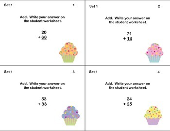 96 Math Task Cards- Grade 2-Adding and Subtracting 2 Digit Numbers-No Regrouping