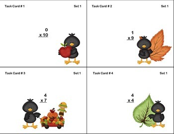 96 Math Task Cards for Third Grade CCSS.MATH.CONTENT.3.OA.C.7 Fall Theme
