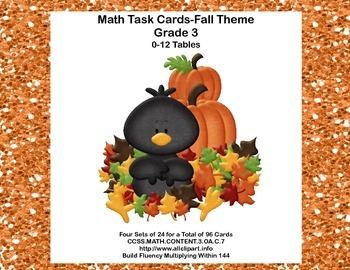96 Math Task Cards for Third Grade CCSS.MATH.CONTENT.3.OA.