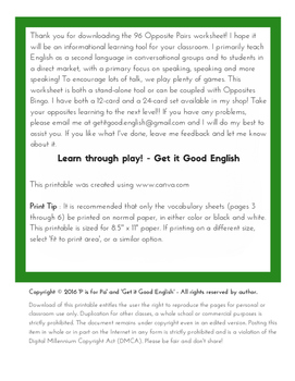 96 Pairs of Opposites Worksheet for English Language Learners (ELL, EFL, ESL)