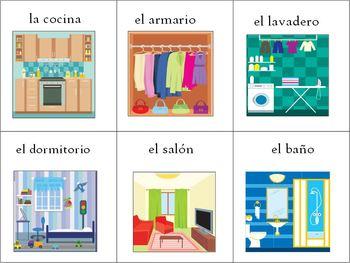 96 Spanish / English House Vocabulary Flash Cards