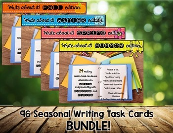 96 Write About It Task Cards BUNDLE {Fall, Winter, Spring, and Summer!}
