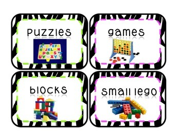 96 Zebra Classroom Labels, Neon Pink and Green, centres, supplies and more