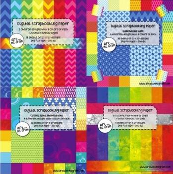 97 Sheet Digital Scrapbooking Paper Super Pack