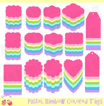 98 Pastel Rainbow Colored Tags