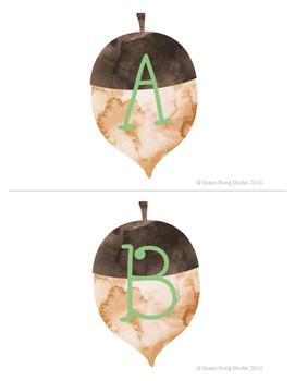 99 Cents Deal Fall themed Acorn Musical Alphabet Flashcards