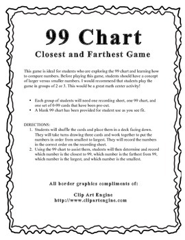 99 Chart Smallest to Largest Game